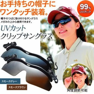 UVカットクリップサングラス★帽子のつばに挟むだけ★眼鏡の上からでもOK|ideashopshowa