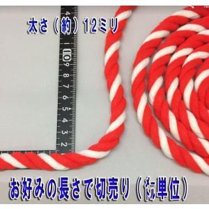 紅白ロープ(紅白紐)太さ12mm (m単位で切り売り)アクリル製|ideashopshowa|03