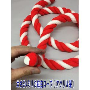 紅白ロープ(紅白紐)太さ24mm (m単位で切り売り)アクリル製|ideashopshowa|04