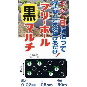 (送料無料) フリーホール黒マルチ(95cm巾x50m) (農業用マルチ)|ideshokai