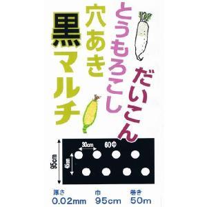 (送料無料) 穴あき黒マルチ(だいこん・トウモロコシ)(95cm巾x50m) (農業用マルチ)|ideshokai