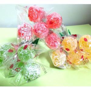さくらんぼキャンディ15束(1束5本のブーケ=赤10黄2緑3束)岩佐製菓