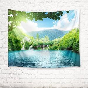 LB 自然風景タペストリー 森と湖 インテリア 多機能壁掛け 滝と日光 おしゃれ 風景画 ファブリッ...