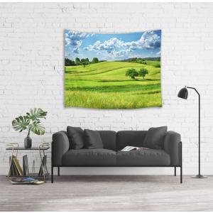 LB 風景写真タペストリー 浮かんでいる白雲と緑の野原 インテリア 多機能壁掛け ファブリック装飾用品 おしゃれ モダンなアート 模様替え|idr-store