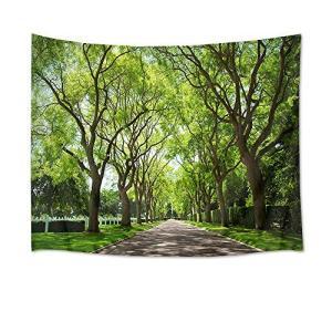 LB 自然風景タペストリー 新緑の並木 インテリア 多機能壁掛け ファブリック装飾用品 風景画タペストリー おしゃれ モダンなアート 模様替|idr-store