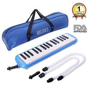 CAHAYA 鍵盤ハーモニカ 32鍵 メロディーピアノ 立奏用唄口 卓奏用パイプ セット ブルー idr-store