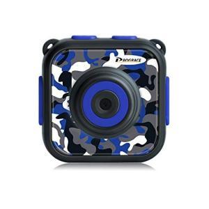 DROGRACE キッズカメラ IP68防水30Mまで 1.77インチ 4倍ズーム 1080P録画 日本語説明書 迷彩柄 ブルー|idr-store