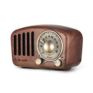 ヴィンテージラジオ Mifine レトロ ブルートゥーススピーカー 胡桃木製 クラシックスタイル ポータブルラジオ FMラジオ 強い低音の強|idr-store