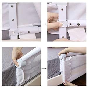 Kooldoo ベッドフェンス ベッドガード 折り畳み式 110cm ホワイト 安全ベルト1本付き ベビーやお年寄りがベッドからの転倒を防ぐ|idr-store