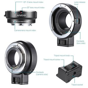Andoer EF-EOSM レンズマウントアダプター サポート自動露出・オートフォーカス・自動絞り...