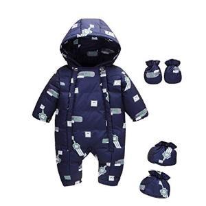 Baby nest ベビー服 カバーオール ジャンプスーツ 長袖ロンパース ダウンコート フード付き...