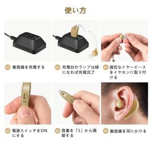 集音器 耳かけ充電式 左右両用 デジタル イヤホンキャップ大小6種 肌色 軽量|idr-store