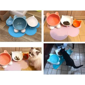 VIVIPET 猫 犬 皿 給水 水やり ウォーターボウル 滑り止め 陶器 セラミックス 猫ヘッド形 ピンク 全五色|idr-store