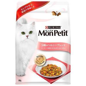 モンプチ バッグ 成猫用 5種のヘルシーブレンド サーモン・白身魚・ほうれん草・大豆・お米味 600g キャットフード・ドライ|idr-store
