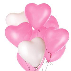 Kesote お姫様カラー 風船 100個セット 誕生日 飾り付け ピンクと白 ハート型 30.5? パーティー 結婚式に|idr-store
