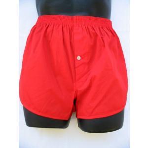 赤 トランクス メンズ 下着 ジョギングトランクス 日本製 送料無料 (S M L LL) 綿100% 赤パンツ 還暦祝い 誕生日 申|if-store