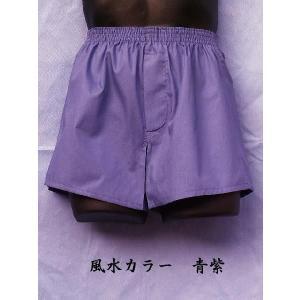 トランクス メンズ 下着 Leトランクス 日本製 送料無料 青紫色 (5L 6L) 綿100% 前開き if-store