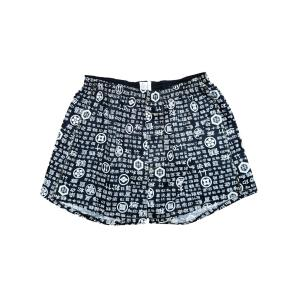 トランクス メンズ 下着 Leトランクス 日本製 送料無料 和柄 和文字柄 黒色 (M L LL) 前開き 綿100%|if-store