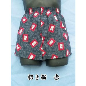 トランクス メンズ 下着 Leジャポントランクス 日本製 送料無料 招き猫柄 赤色 (M L LL) 綿100% 前開き|if-store