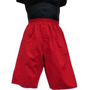 ロングトランクス メンズ 下着 日本製 送料無料 すててこ 赤色 (M L) 綿100% 前開き|if-store