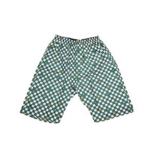ロングトランクス メンズ 下着 日本製 送料無料 和柄 寿司柄 緑色 (LL 3L) 後ろポケット付 室内着 部屋着 すててこ|if-store