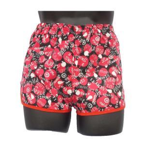 子供 トランクス 日本製 送料無料 トランクス メンズ 下着 ジョギングタイプ フルーツ柄 赤色 綿100% 前閉じ|if-store