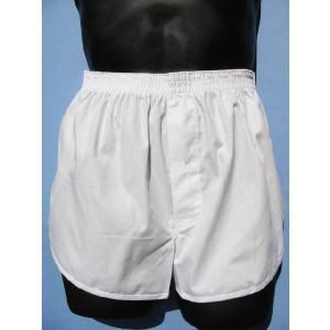 白 トランクス メンズ 下着 ジョギングトランクス 日本製 送料無料 (S M L LL) 綿100% 前開き 白色 パンツ 白下着|if-store