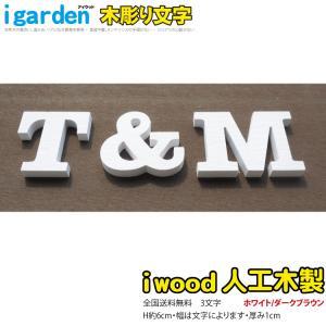 腐らないアイウッド人工木製 木彫りアルファベット&数字3文字 オブジェ【H60mm】大文字【代引不可】  |igarden