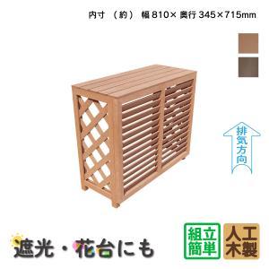 大型エアコン室外機カバー 樹脂人工木製アイウッド逆ルーバー風880ナチュラル組立式|igarden