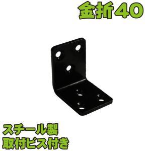 金折厚口巾広S40黒色スチール製ビス付|igarden