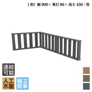 アイウッドデッキフェンス3枚セット ブラック アイウッド人工木製 縁台 フェンス 目隠しフェンス バルコニー|igarden