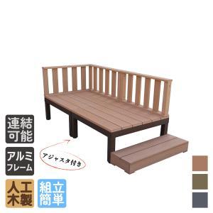 ウッドデッキPLUS 6点セット 0.5坪ナチュラル アイウッド人工木製 縁台 フェンス 目隠しフェンス バルコニー|igarden