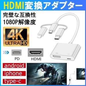 HDMI変換ケーブル AVアダプタ テレビ接続ケーブル プロジェクタ 変換アダプタ PC HDMI変...