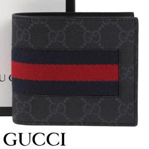 f02360953f53 グッチ 財布 GUCCI 二つ折り財布 GGスプリームキャンバス ニューウェブ メンズ ブラック 408826-KHN4N-1095