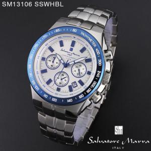 腕時計 メンズ 男性 サルバトーレ マーラ 腕時計 Salvatore Marra 時計 SM13106 SSWHBL ホワイト ステン クロノグラフ カレンダー 【お取り寄せ】 iget
