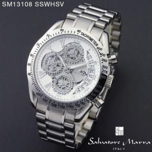 腕時計 メンズ 男性 サルバトーレ マーラ 腕時計 Salvatore Marra 時計 SM13108 SSWH ホワイト ステン クロノグラフ カレンダー 【お取り寄せ】 iget