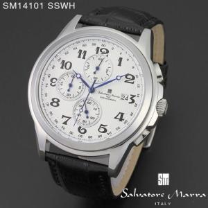 腕時計 メンズ 男性 サルバトーレ マーラ 腕時計 Salvatore Marra 時計 SM14101 SSWH ホワイト  レザー カレンダー 【お取り寄せ】 iget