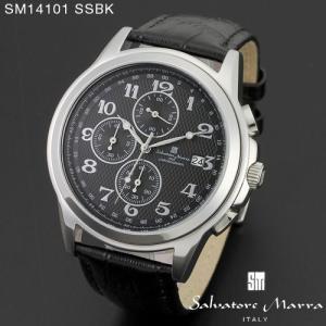 腕時計 メンズ 男性 サルバトーレ マーラ 腕時計 Salvatore Marra 時計 SM14101 SSBK ホワイト  レザー カレンダー 【お取り寄せ】 iget