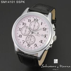 腕時計 メンズ 男性 サルバトーレ マーラ 腕時計 Salvatore Marra 時計 SM14101 SSPK ピンク  レザー カレンダー 【お取り寄せ】 iget