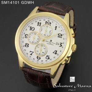腕時計 メンズ 男性 サルバトーレ マーラ 腕時計 Salvatore Marra 時計 SM14101 GDWH ホワイト レザー カレンダー 【お取り寄せ】 iget