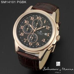 腕時計 メンズ 男性 サルバトーレ マーラ 腕時計 Salvatore Marra 時計 SM14101 PGBK ブラック レザー カレンダー 【お取り寄せ】 iget