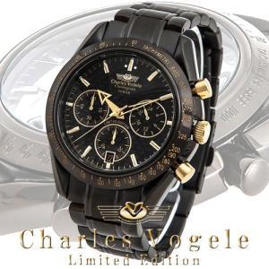 シャルル ホーゲル 腕時計 Charles Vogele リミテッドエディション Limited Edition CV-9017-1 クロノグラフ カレンダー カーボン文字盤|iget