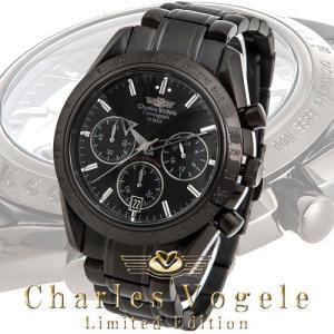 シャルル ホーゲル 腕時計 Charles Vogele リミテッドエディション Limited Edition CV-9017-3 クロノグラフ カレンダー ブラック文字盤|iget