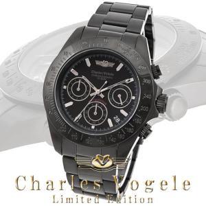 シャルル ホーゲル 腕時計 Charles Vogele リミテッドエディション Limited Edition CV-9019-3 クロノグラフ カレンダー ブラック文字盤|iget