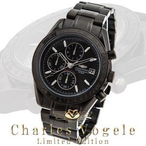 シャルル ホーゲル 腕時計 Charles Vogele リミテッドエディション Limited Edition CV-9021-3 クロノグラフ カレンダー ブラック文字盤|iget