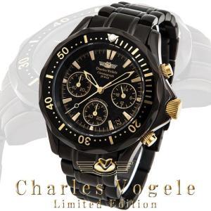 シャルル ホーゲル 腕時計 Charles Vogele リミテッドエディション Limited Edition CV-9023-1 クロノグラフ カレンダー カーボン文字盤|iget
