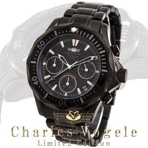 シャルル ホーゲル 腕時計 Charles Vogele リミテッドエディション Limited Edition CV-9023-3 クロノグラフ カレンダー ブラック文字盤|iget