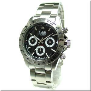 エルジン 腕時計 ELGIN FK1059S-B 黒文字盤/200M防水/クロノグラフ/ダイバー使用 iget