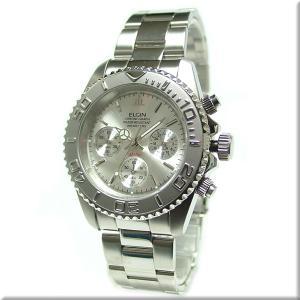 送料無料  エルジン 腕時計 ELGIN FK1120S 200M防水・クロノグラフ機能付 シルバー文字盤 iget
