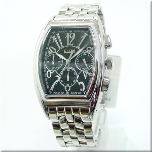 エルジン腕時計 エルジン ELGIN FK1215S-B 日常生活防水・クロノグラフ機能付 ブラック文字盤 iget